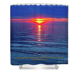 Vivid Sunset - Emerson Quote - Square Format Shower Curtain