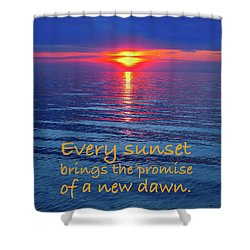 Vivid Sunset With Emerson Quote Shower Curtain