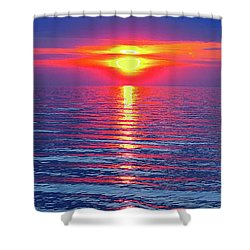 Vivid Sunset With Emerson Quote - Vertical Format Shower Curtain