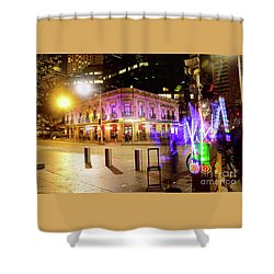 Shower Curtain featuring the photograph Vivid Sydney Circular Quay By Kaye Menner by Kaye Menner