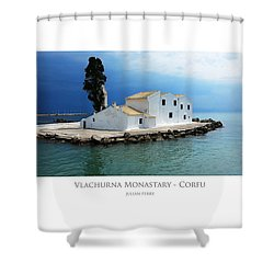 Shower Curtain featuring the digital art Vlachurna Monastary - Corfu by Julian Perry