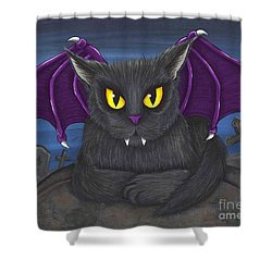 Vlad Vampire Cat Shower Curtain by Carrie Hawks