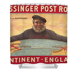 Vlissinger Post Route - Zeeland Maritime Company Poster - London To Flushing Ship Route Shower Curtain