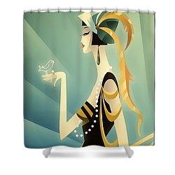 Shower Curtain featuring the digital art Vogue - Bird On Hand by Chuck Staley