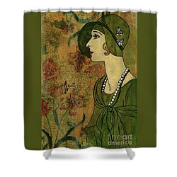 Shower Curtain featuring the painting Vogue Twenties by P J Lewis