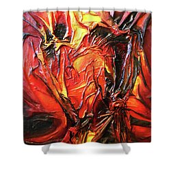 Shower Curtain featuring the mixed media Volcanic Fire by Angela Stout
