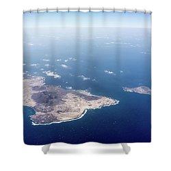 Volcano Island Shower Curtain by Teemu Tretjakov