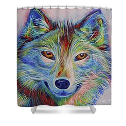 Shower Curtain featuring the painting Volfie by Angela Treat Lyon