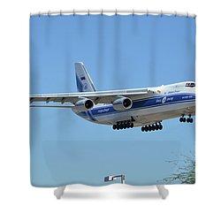Shower Curtain featuring the photograph Volga-dnepr An-124 Ra-82068 Landing Phoenix Sky Harbor June 15 2016 by Brian Lockett