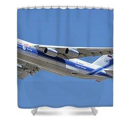 Shower Curtain featuring the photograph Volga-dnepr An-124 Ra-82068 Take-off Phoenix Sky Harbor June 15 2016 by Brian Lockett