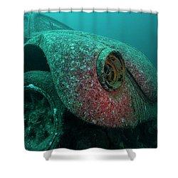 Shower Curtain featuring the photograph Volkswagen Beetle Underwater by Rico Besserdich
