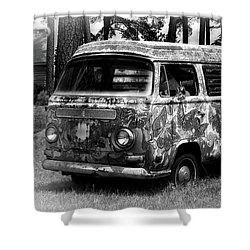 Shower Curtain featuring the photograph Volkswagen Microbus Nostalgia In Black And White by Bill Swartwout Fine Art Photography