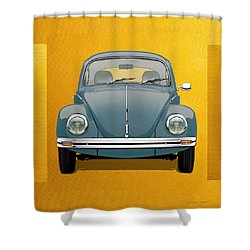 Shower Curtain featuring the digital art Volkswagen Type 1 - Blue Volkswagen Beetle On Yellow Canvas by Serge Averbukh
