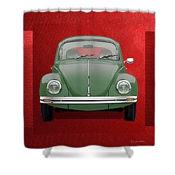 Shower Curtain featuring the digital art Volkswagen Type 1 - Green Volkswagen Beetle On Red Canvas by Serge Averbukh