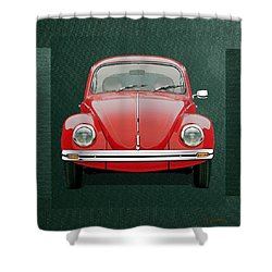 Shower Curtain featuring the digital art Volkswagen Type 1 - Red Volkswagen Beetle On Green Canvas by Serge Averbukh
