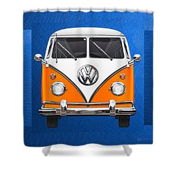 Volkswagen Type - Orange And White Volkswagen T 1 Samba Bus Over Blue Canvas Shower Curtain by Serge Averbukh