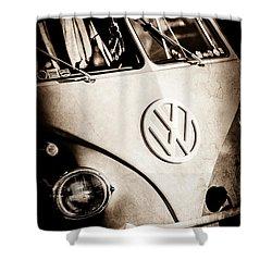 Shower Curtain featuring the photograph Volkswagen Vw Bus Emblem -1355s by Jill Reger