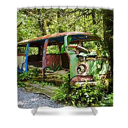 Volkswagon Bus Overtaken By Nature Shower Curtain