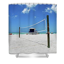 Shower Curtain featuring the photograph Volley Ball On The Beach by Gary Wonning