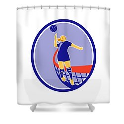 Volleyball Player Spiking Ball Oval Retro Shower Curtain