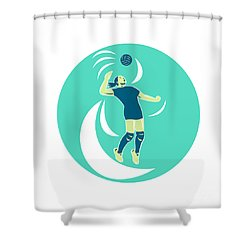 Volleyball Player Spiking High Circle Retro Shower Curtain