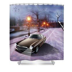 Volvo P1800 Snow Scene Shower Curtain by Linton Hart