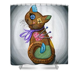 Shower Curtain featuring the painting Voodoo Cat Doll - Patchwork Cat by Carrie Hawks