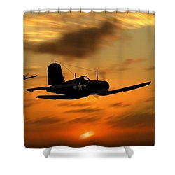 Vought Corsairs At Sunset Shower Curtain