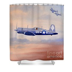 Shower Curtain featuring the painting Vought F4u-1d Corsair Aircraft by Bill Holkham