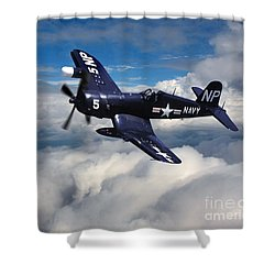 Vought F4u Corsair In Flight Shower Curtain