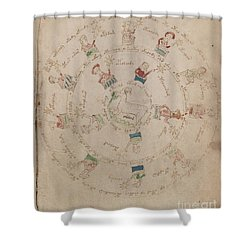 Voynich Manuscript Astro Aries Shower Curtain