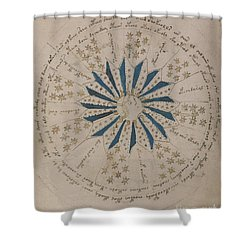 Voynich Manuscript Astro Rosette 1 Shower Curtain