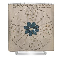 Voynich Manuscript Astro Rosette 2 Shower Curtain