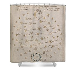 Voynich Manuscript Astro Sun And Moon 1 Shower Curtain