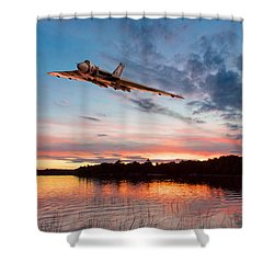 Shower Curtain featuring the digital art Vulcan Low Over A Sunset Lake by Gary Eason