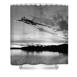 Shower Curtain featuring the digital art Vulcan Low Over A Sunset Lake Sunset Lake Bw by Gary Eason