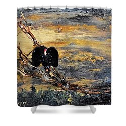 Vulture With Oncoming Storm Shower Curtain