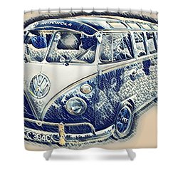Vw Camper Van Waves Shower Curtain by John Colley
