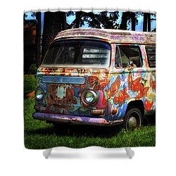 Shower Curtain featuring the photograph Vw Psychedelic Microbus by Bill Swartwout Fine Art Photography