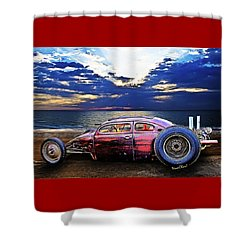 Rat Rod Surf Monster At The Shore Shower Curtain