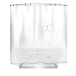 Vw Van Graphic Artwork Tee White Shower Curtain