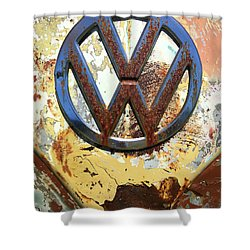 Vw Volkswagen Emblem With Rust Shower Curtain by Kelly Hazel