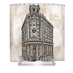 Shower Curtain featuring the painting Wabash Station Pittsburgh, Pennsylvania, Circa 1905 by Andrzej Szczerski