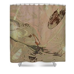 Wabi-sabi Ikebana Remix Warm Taupes Shower Curtain