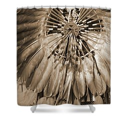Shower Curtain featuring the photograph Wacipi Dancer In Sepia by Heidi Hermes