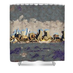 Shower Curtain featuring the mixed media Wacky Philly Skyline by Trish Tritz