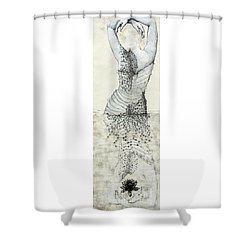 Wader With Lotus Flower Shower Curtain