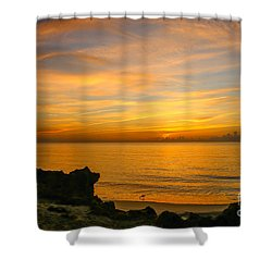 Wading In Golden Waters Shower Curtain