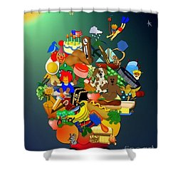 Wagon Of Toys Without White Frame Shower Curtain by Bob Winberry