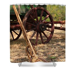 Wagon Stake Shower Curtain by Toni Hopper